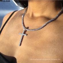 New Jesus Cross Necklace with Diamond Christian Religious Belief Rhinestone Pendant Choker