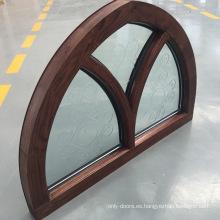 Marco de ventana modificado para requisitos particulares de la madera de roble superior del arco del diseño de las formas de la especialidad con el vidrio tallado