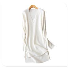 Vestidos 2017 de las nuevas mujeres de la cachemira pura que hacen punto el dobladillo partido de la hendidura del cuello en v profundo atractivo encima del vestido de la rodilla