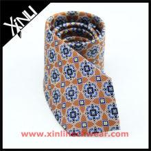 Geometrical Brown Blue Italian Ties for Men, Italian Necktie