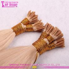 Alta qualidade por atacado 100% humano remy sem extensões de cabelo loiro i-ponta emaranhado #60