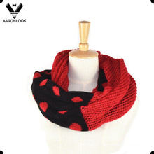 Fashion Jacquard Split Joint Knit Round Infinity Scarf