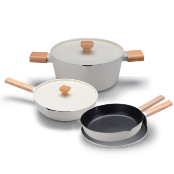 good quality 6pcs cookware set with different handle casserole
