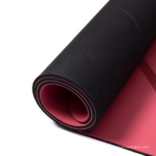 China vendor odor resistant  eco friendly  laminated solid color black two  double layer pu rubber yoga mat