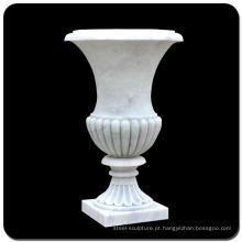 China jardim barato paisagismo vaso de flores de mármore branco