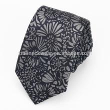Handmade Jacquard Woven Skinny 100% Silk Floral Tie