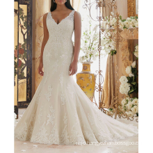 Alibaba Sexy Appliqued Trumpet Long Train Africa Wedding Dress