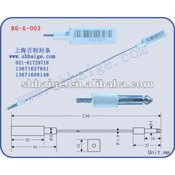 Selo indicativo BG-G-003, vedação do cabo para uso de segurança