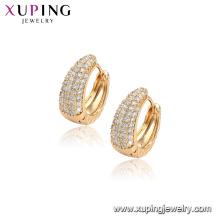 96848 xuping moda 18 K oro color aro pendiente de oro para las mujeres