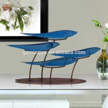 Nouvelle arrivée maison ornement gros lucky blue polyresin poisson avec cadre en métal décorer votre maison