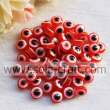 Red DIY Accessories 7 * 10MM Spacer Resin Acrylic Loose Cat`s Eye Resin Beads