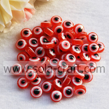 Red DIY Acessórios 7 * 10 MM Resina Spacer Acrílico Loose Cat`s Eye Resina Beads