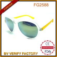 Cheap Yellow Lady Sunglasses with Metal & Plastic Frame