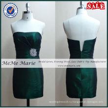 Сатин плотный стразами изумрудно-зеленые платья выпускного вечера до свидания-14009