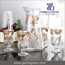 Luxurious Gold Plating 7 PCS Glass Drinking Set