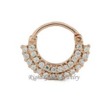 Chapado en oro 16G indio nariz anillo diamante 24K oro Piercing de la nariz
