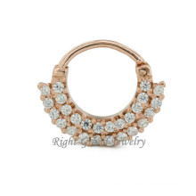 16G Gold Plated Indian Nose Ring Diamond 24K Gold Nose Piercing
