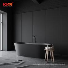 Europe popular black matte stone solid surface bath tubs high quality freestanding bathtub