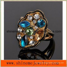Shineme Joyería de acero inoxidable de fundición de diamantes de color de placas de 18k anillo Czr2570
