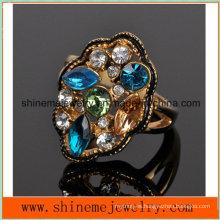Shineme Joyería de acero inoxidable de fundición de diamantes de color de placas de 18k anillo Czr2570