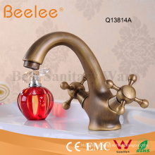 Antique Copper Dule Cross Handle Bathroom Basin Faucet