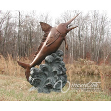Art Garden Decor Bronze Singal Marlin Fountain for Hot Sale