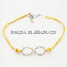 Amarillo alambre diamante número ocho aleación pulsera tejida