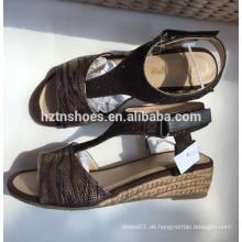 Schlange PU-Leder Espadrille Keil T-Form Sandale Jute Sohle Damen Schuh