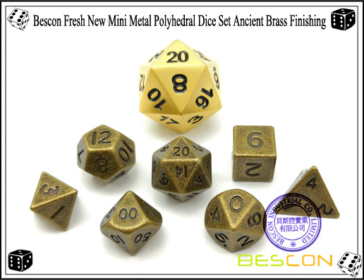 Bescon Fresh New Mini Metal Polyhedral Dice Set Ancient Brass Finishing-3