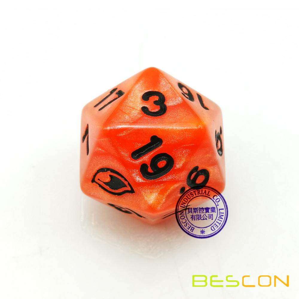 20 Sides Customized Logo Engraved Swirled Pearl Multi-Sides Dice