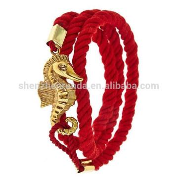 Venda al por mayor la cuerda de la suerte de la pulsera del mejor amigo con las pulseras del Seahorse del oro para la joyería del ancla de la manera