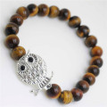 Yellow Tiger eye Gemstone Bracelet with Diamante alloy Owl Piece