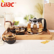 Lilac Free Sample transparent glass tea pot set