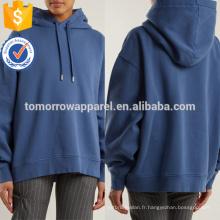 Sweat-shirt à capuche en coton bleu foncé OEM / ODM Fabrication en gros de mode femmes vêtements (TA7015H)