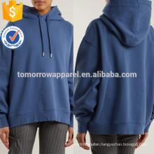 Dark Blue Cotton Jersey Hooded Sweatshirt OEM/ODM Manufacture Wholesale Fashion Women Apparel (TA7015H)