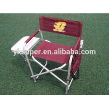 Cadeira leve leve de alumínio com mesa lateral e bolso