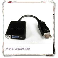 Negro DP a VGA M / F Cable adaptador de 15 cm (entrega de alta definición de audio digital y vídeo desde el puerto DP a los monitores VGA)