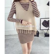 PK17ST371 colete padrão borla projeto suéter de cashmere mulher com franja