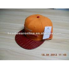 PU snapback caps com logo bordado