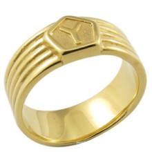 Anneau en or blanc 18k plaqué or pour hommes
