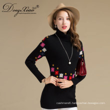 2017 Fashion Top Design Knitting Pattern Embroidery Women Cashmere Long Tight Sweater Dress
