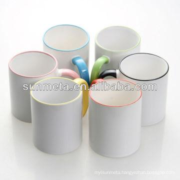 Blank sublimation rim and handle color coated mug