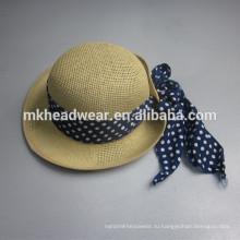Новый дизайн женщина соломенной шляпе bowknot