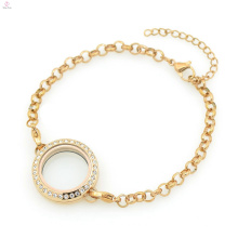 Precio de fábrica caliente 316l de acero inoxidable de oro rosa de cristal 5mm de ancho cadena de perlas pulseras de la joyería