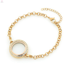 Hot factory price 316l stainless steel rose gold crystal 5mm width pearl chain bracelets jewelry