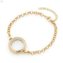 Hot preço de fábrica de aço inoxidável 316l subiu de cristal de ouro 5mm de largura pérola pulseiras cadeia de jóias