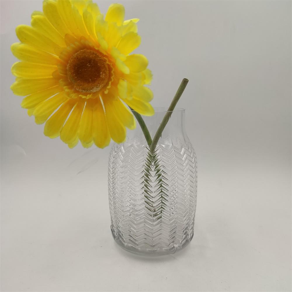 Br V 1018embossed Pattern Crystal Glass Vase