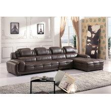 Sofá de cuero de alta calidad, forma de L sofá conjunto (882)