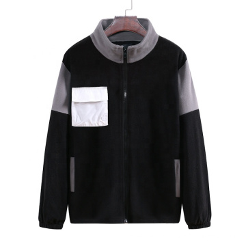 2021 Oversized  Autumn New Large Size Pocket Decoration Color Matching Men's Casual Collar Sweater Coat
