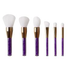 6pcs cristal manipuler les pinceaux de maquillage de cheveux blancs